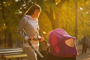 woman with a stroller in the park