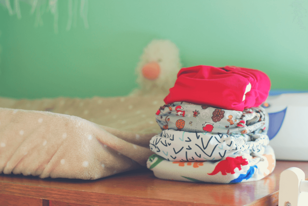 cloth diapers on changing table