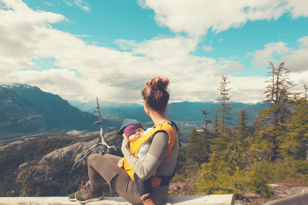 mom, baby and the sky