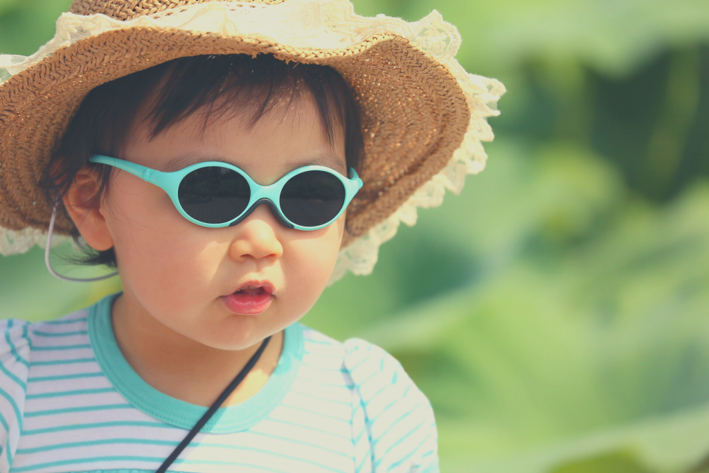 toddler with sunglasses