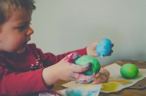 toddler doing art