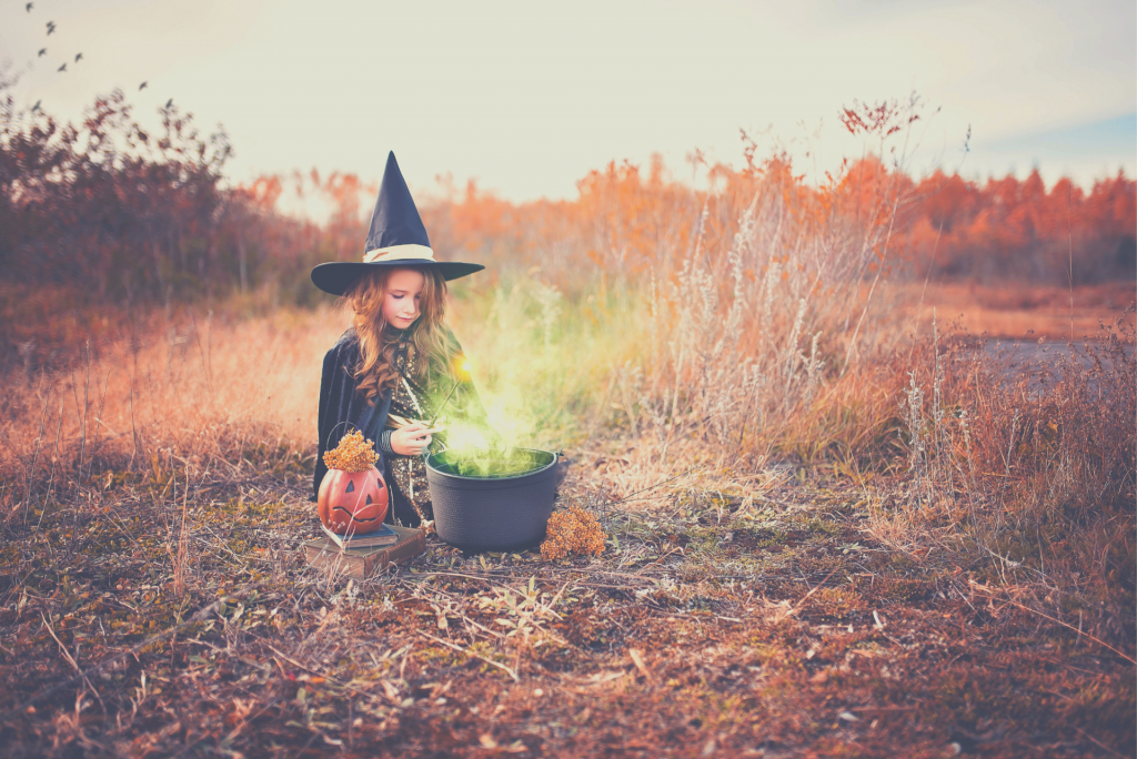girl in a witch costume