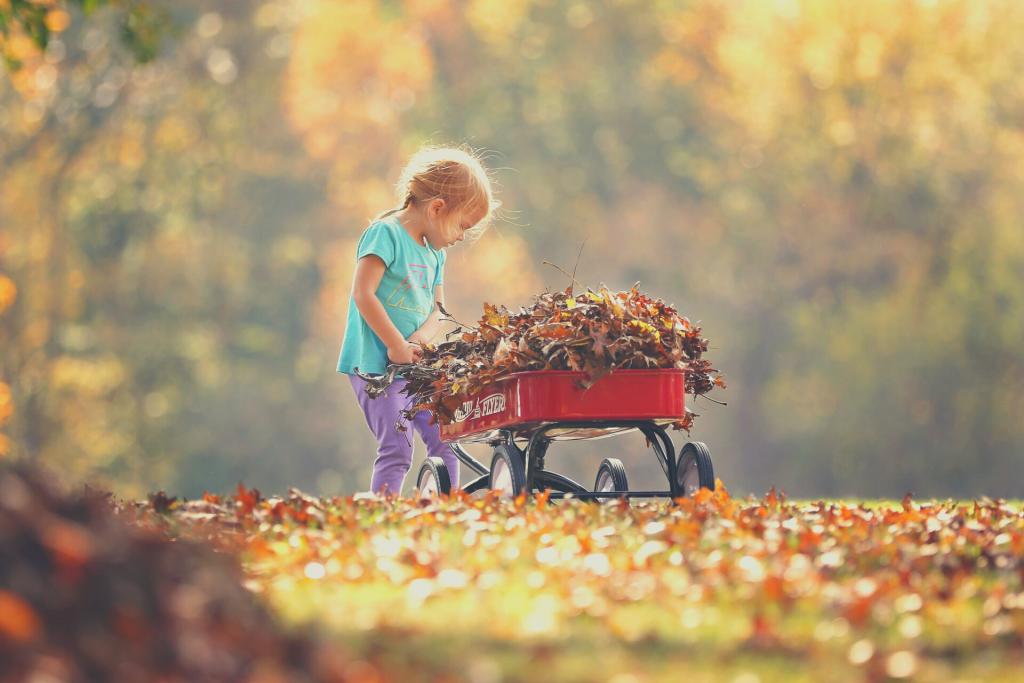 baby pushing wagon
