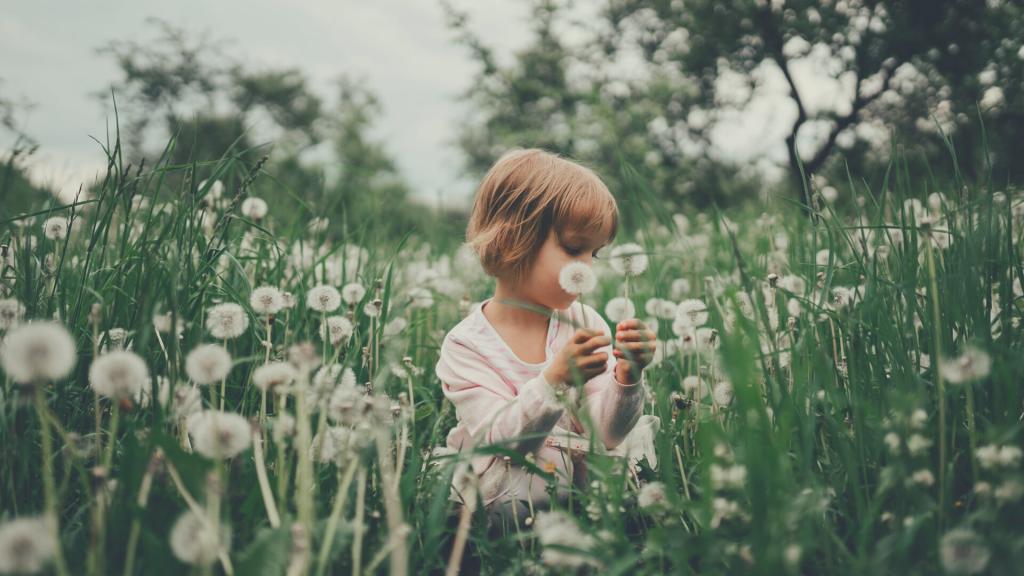 girl sitting on flower field