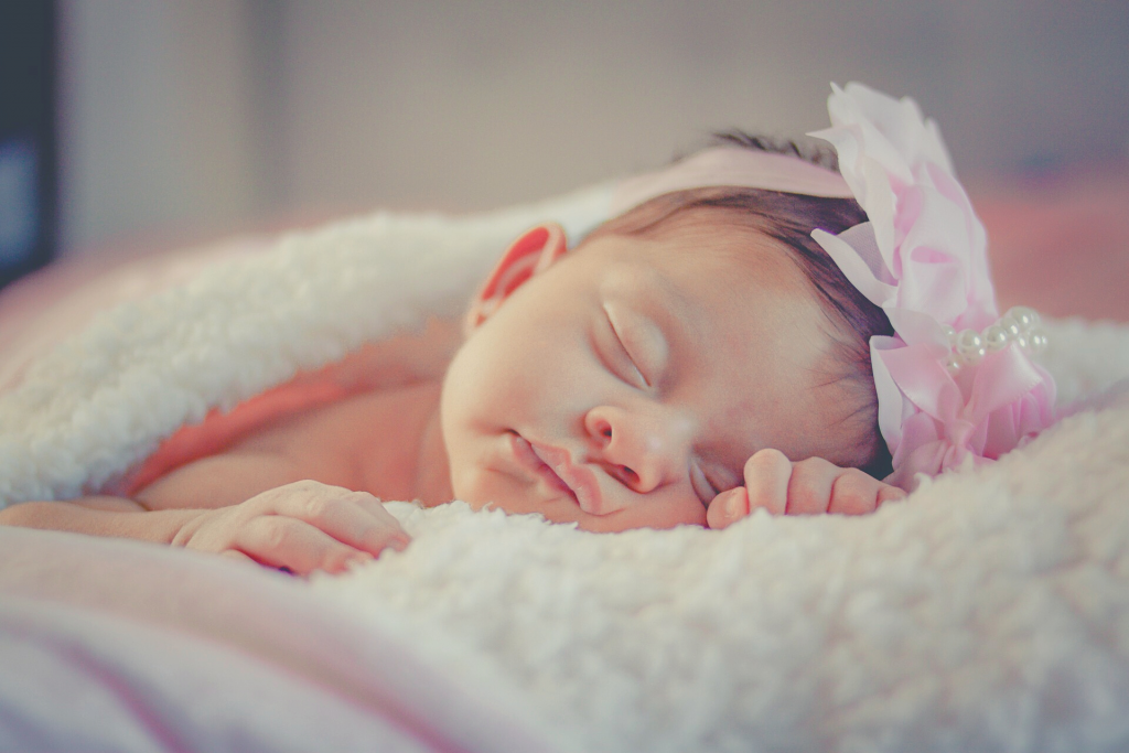 cute baby girl napping