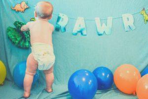 baby in white diaper