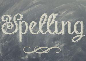 spelling written on blackboard