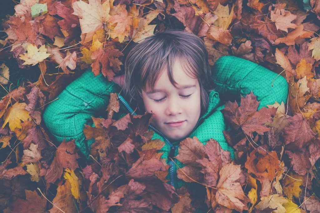 boy relaxing on maple leaves